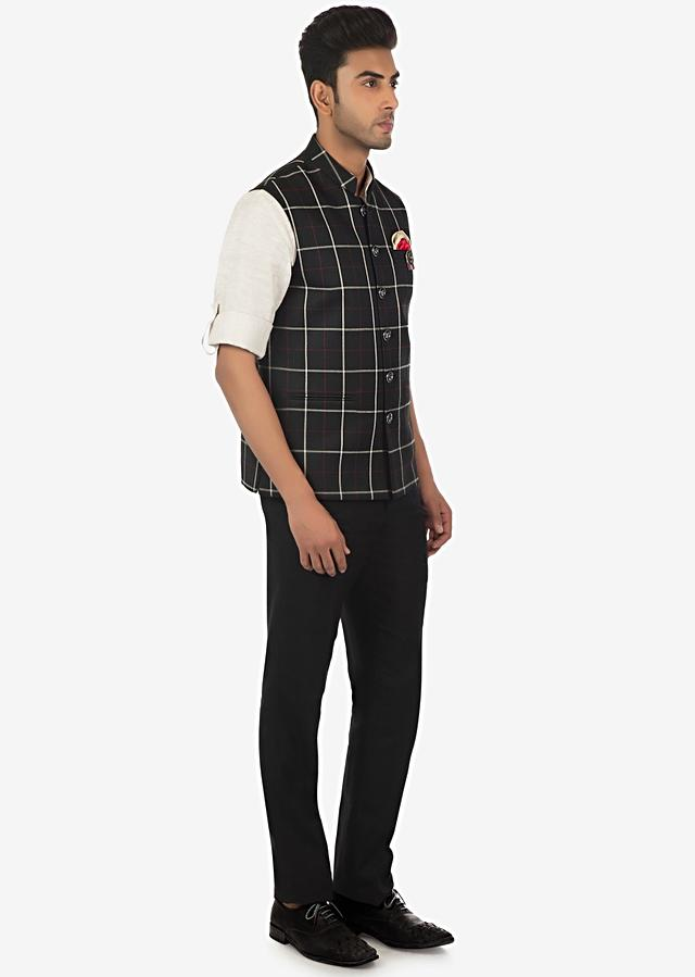 Solid Linen Shirt, Pant And Checked Fancy Fabric Waist Coat Set Online - Kalki Fashion