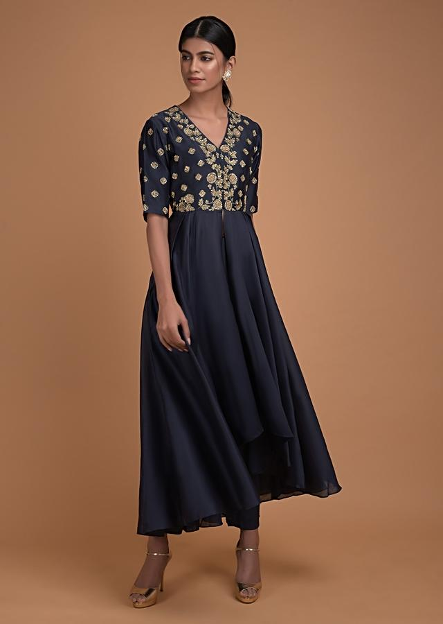 Space Blue A Line Suit In Cotton With High Low Hemline And Embroidered Bodice Online - Kalki Fashion