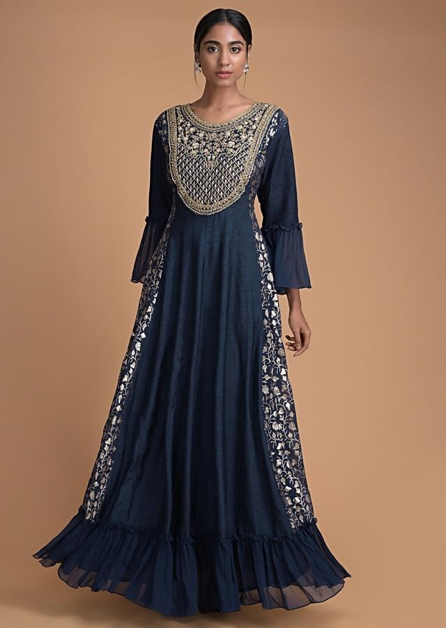 Space Blue Anarkali Dress With Embroidered Bodice And Weaved Panels Online - Kalki Fashion