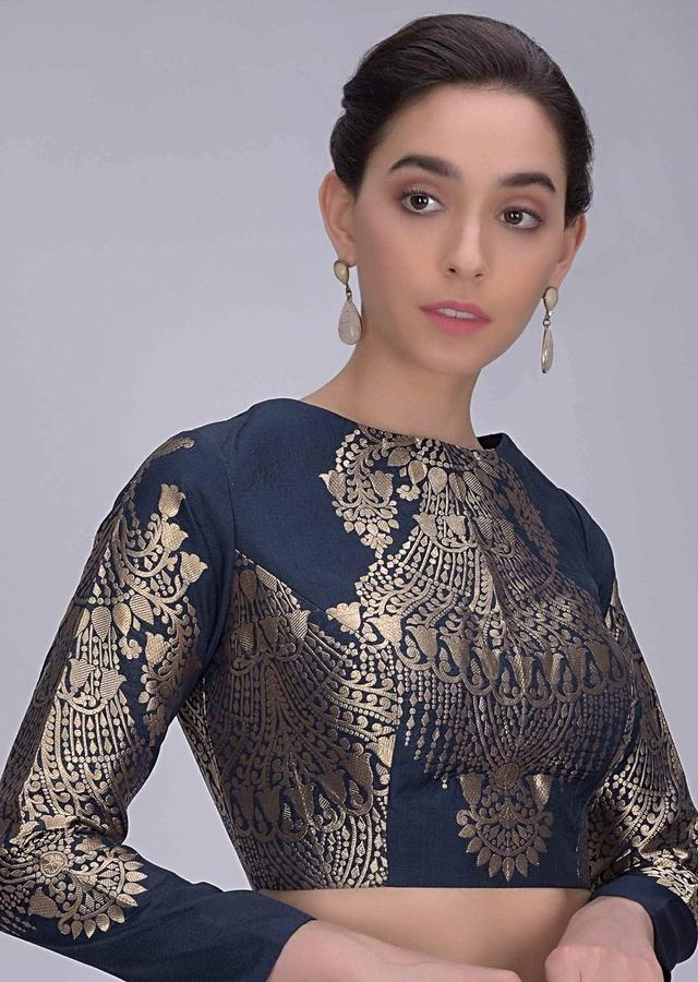 Space Blue Blouse In Dupion Silk With Weaved Brocade Pattern Online - Kalki Fashion