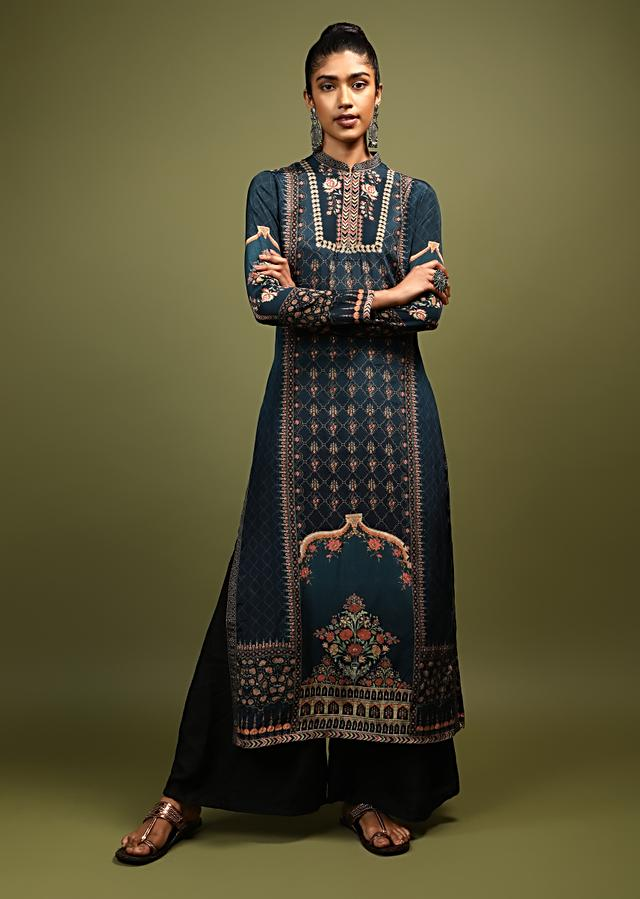 Space Blue Kurti In Crepe With Floral And Mughal Print And Kundan Accents Online - Kalki Fashion