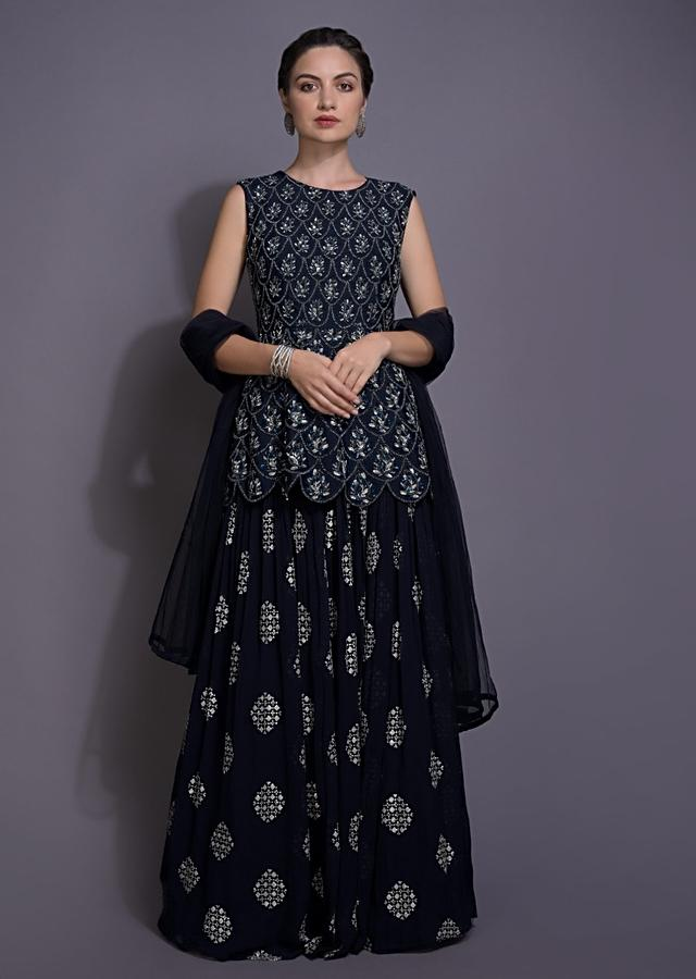 Space Blue Lehenga And Peplum Top With Embroidered Geometric And Scallop Pattern Online - Kalki Fashion