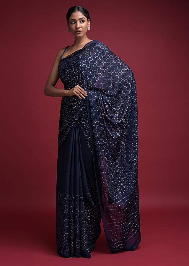 Space Blue Saree In Chiffon Blend With Badla Embellished Checks Pattern Online - Kalki Fashion