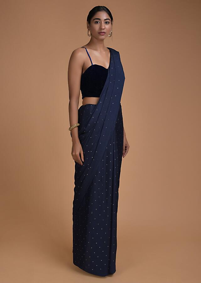 Space Blue Saree In Chiffon With Badla Work All Over Online - Kalki Fashion