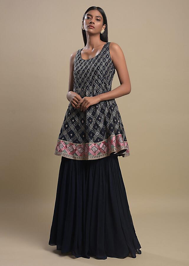 Space Blue Sharara Suit In Georgette With Resham And Zari Embroidered Checks Pattern Online - Kalki Fashion