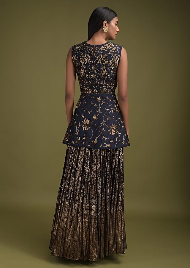 Space Blue Skirt In Georgette With Sequins Work In Gradient Pattern And A Line Embroidered Kurti Online - Kalki Fashion