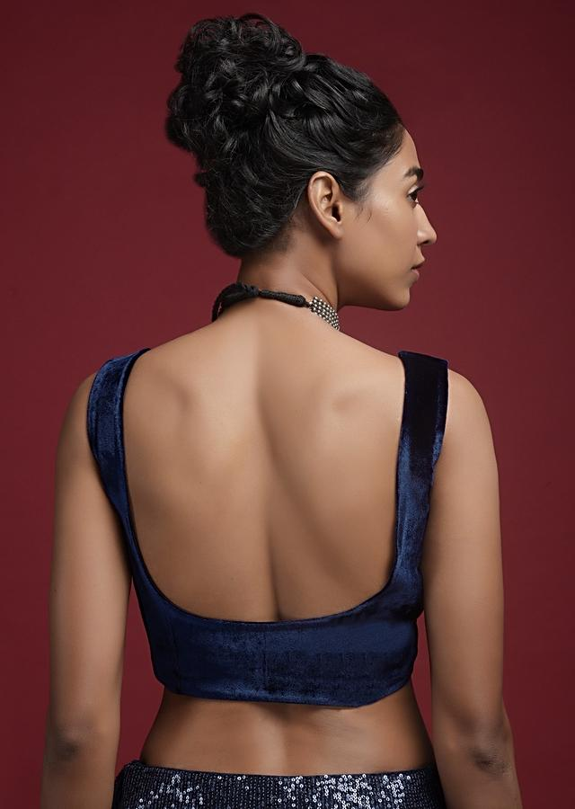 Space Blue Blouse In Velvet With Front Zip Opening Online - Kalki Fashion