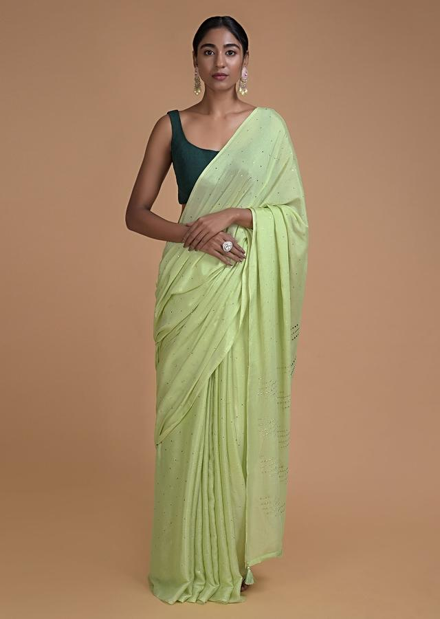 Spring Green Saree In Chiffon With Badla Work All Over Online - Kalki Fashion