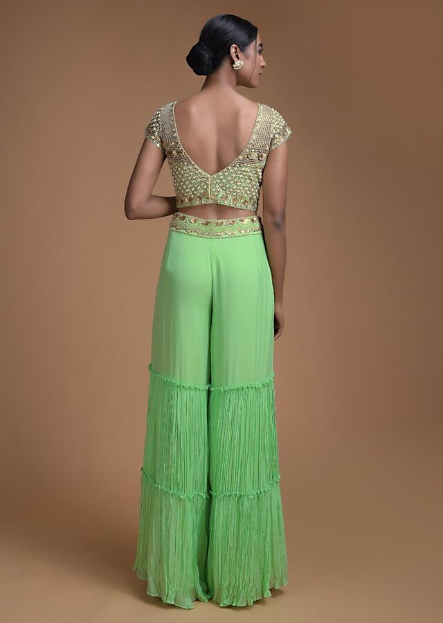 Spring Green Sharara Suit With Embellished Crop Top And Shaded Dupatta Online - Kalki Fashion