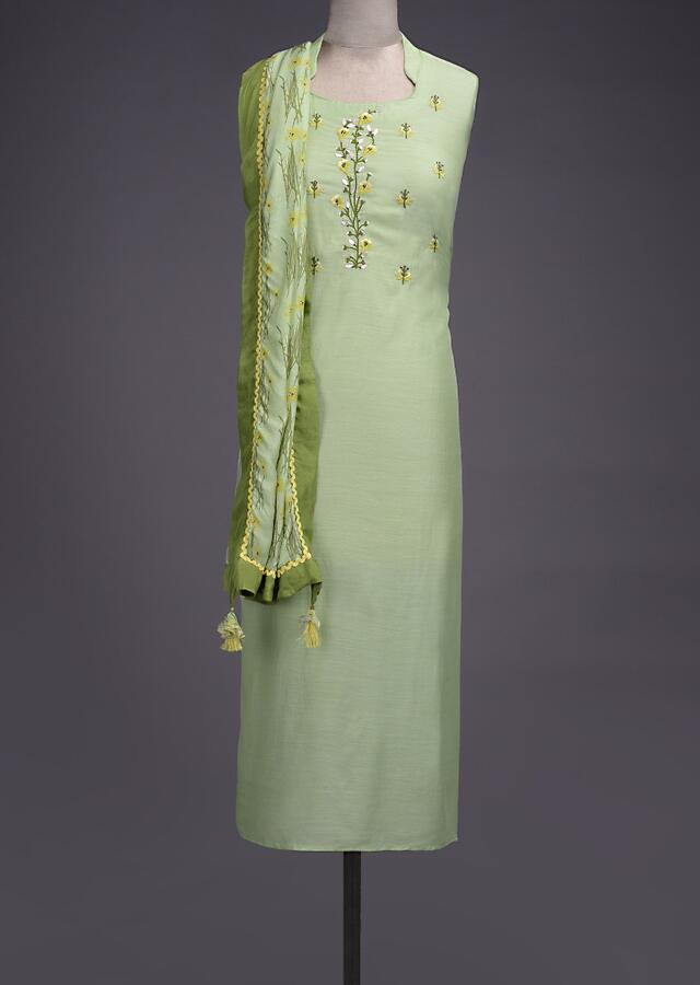 Spring Green Unstitched Suit In Santoon With Floral Embroidered Neckline Online - Kalki Fashion