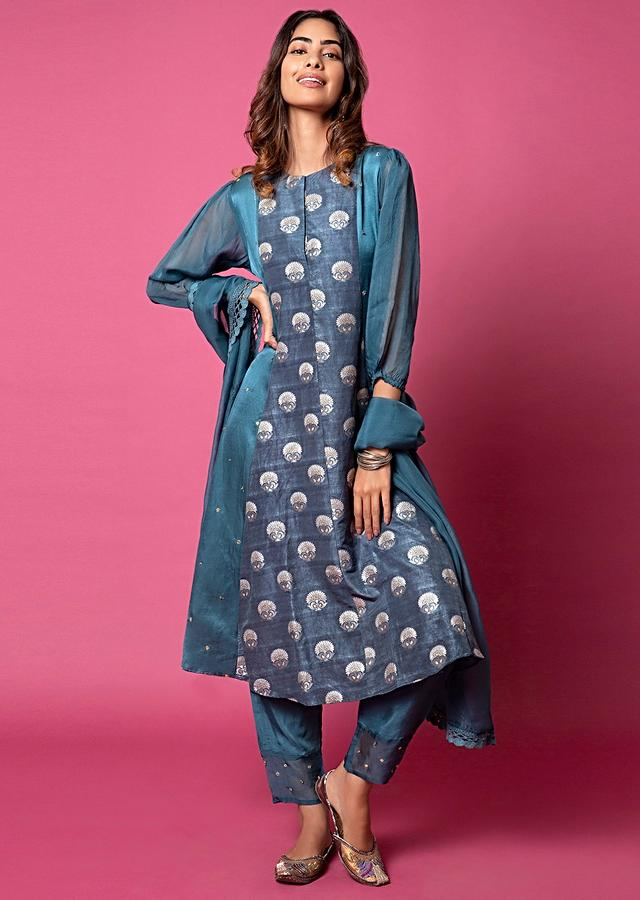 Spruce Blue A Line Suit With Floral Hand Woven Banarasi On The Centre Kali And Cheeta Embroidery Online - Kalki Fashion