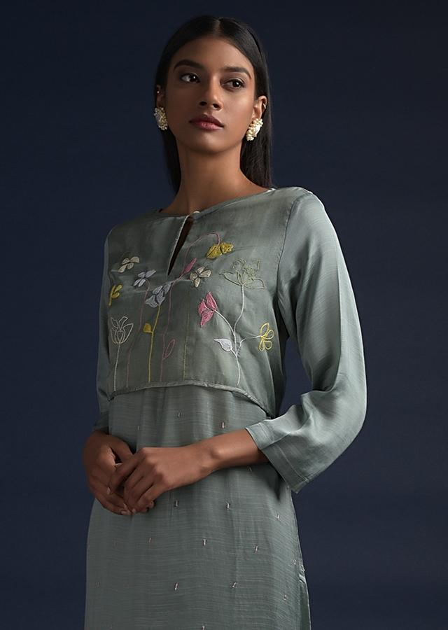 Spruce Green A Line Suit With Organza Layer On The Bodice With Thread Work Online - Kalki Fashion