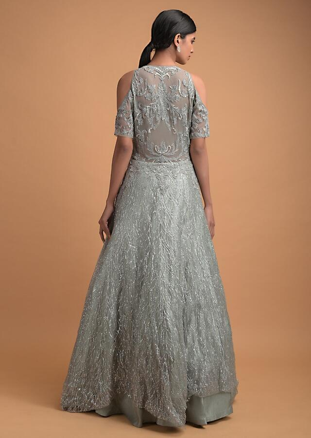 Spruce Green Ball Gown In Net Heavily Adorned With Velvet Patchwork And Shimmer Online - Kalki Fashion