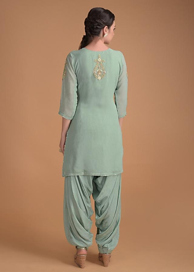 Spruce Green Salwar Suit With Floral Embroidered Neckline And Buttis Online - Kalki Fashion