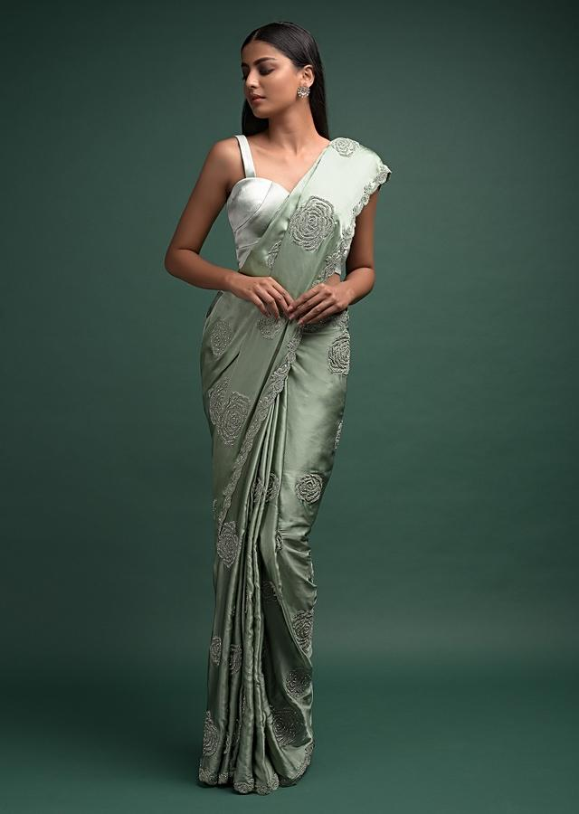 Spruce Green Saree In Satin With Beads Embellished Rose Motifs In Repeat Pattern Online - Kalki Fashion