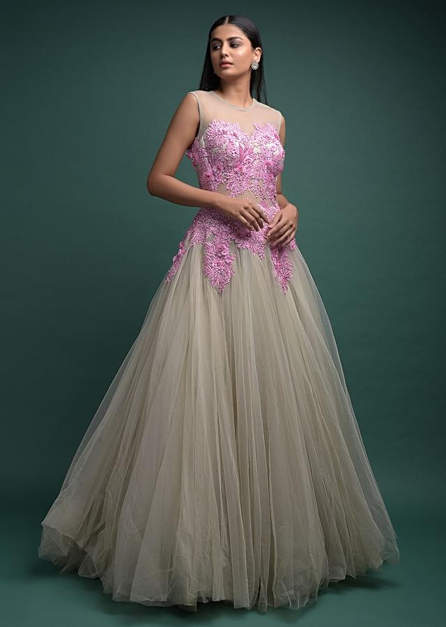Squirrel Grey Ball Gown In Net With Pink Embroidered Bodice Online - Kalki Fashion