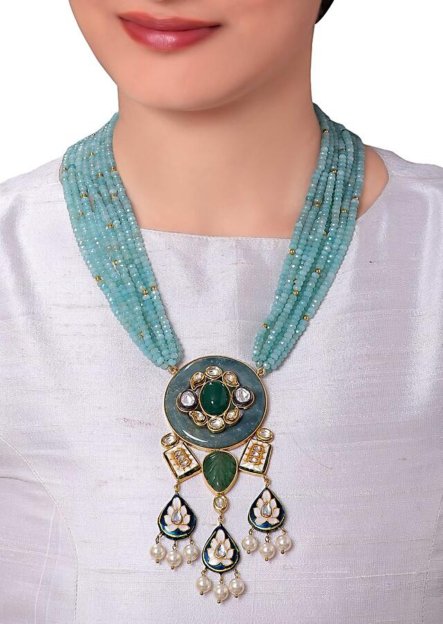 Statement Necklace With Blue Bead Strings And Green Stone Kundan Pendant  Online - Joules By Radhika