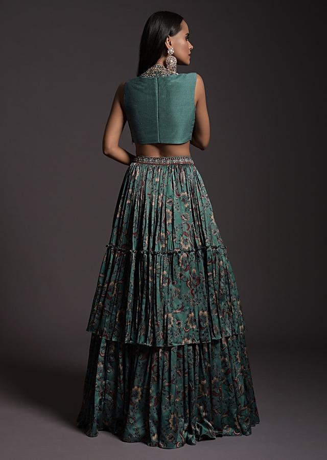 Steel Blue Layered Skirt In Floral Printed Satin With Embroidered Crop Top And Blush Pink Dupatta Online - Kalki Fashion