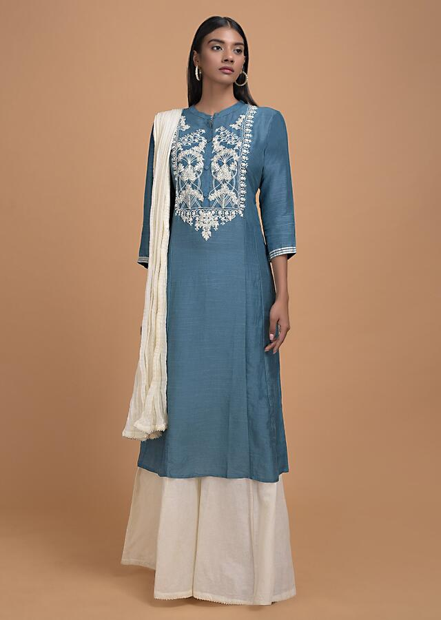 Steel Blue Palazzo Suit In Cotton Silk With Thread And Gotta Patch Embroidered Placket Online - Kalki Fashion