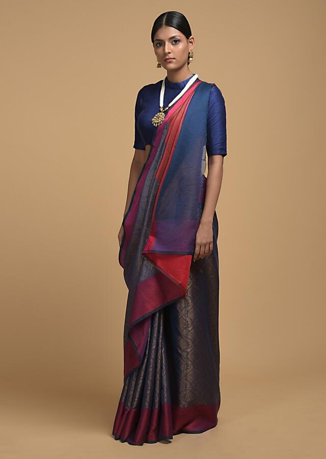 Steel Blue Saree In Silk With Woven Moroccan Jaal Design And Contrasting Red Woven Border Online - Kalki Fashion