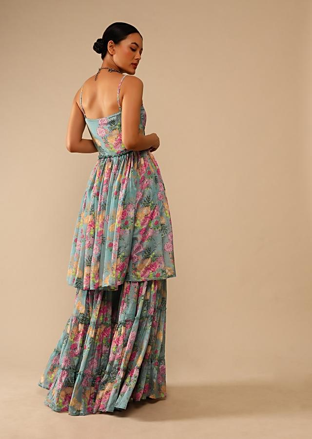 Steel Blue Sharara Suit In Crepe With Peplum Flared Kurti Adorned In Floral Print All Over Online - Kalki Fashion