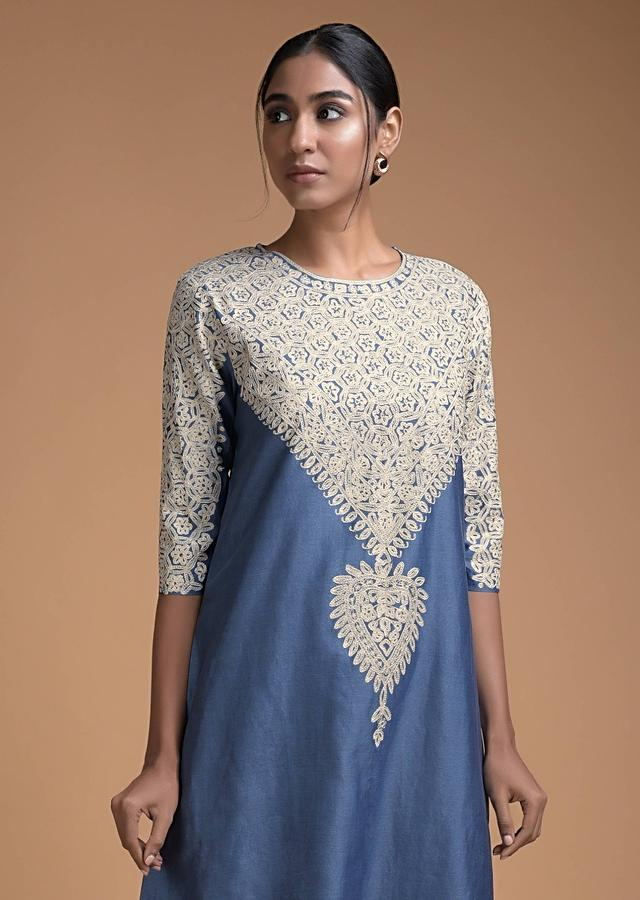 Steel Blue Straight Cut With Thread Embroidery In Floral Jaal On The Neckline Online - Kalki Fashion