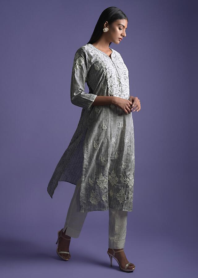 Steel Grey Kurta In Crepe With Striped Print  And Thread Embroidery Online - Kalki Fashion