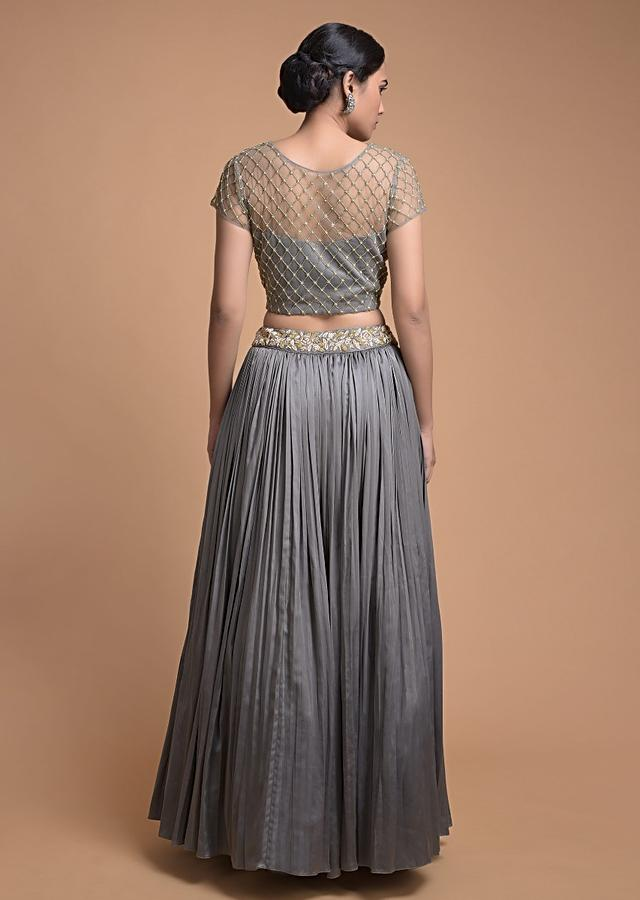 Steel Grey Lehenga And Crop Top In Embellished Net With Ruffle Dupatta Online - Kalki Fashion
