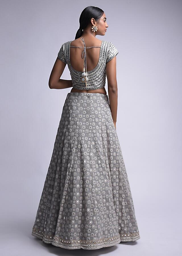 Steel Grey Lehenga Choli With Lucknowi And Abla Work In Floral Buttis Online - Kalki Fashion