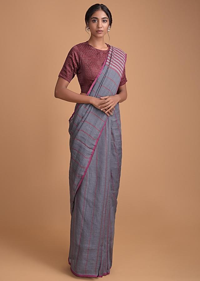 Steel Grey Saree In Jute Cotton With Weaved Stripes With A Printed Maroon Blouse Online - Kalki Fashion