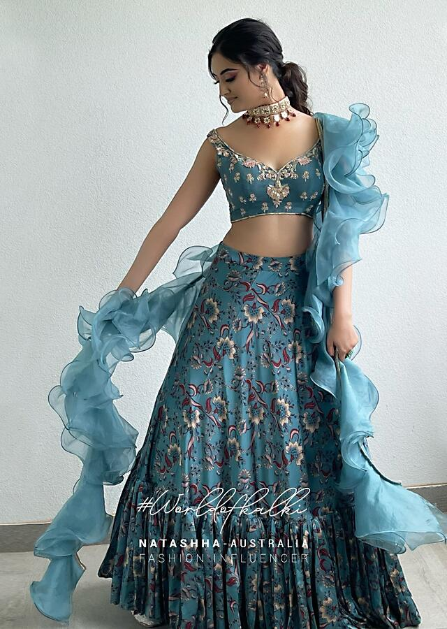 Steel Blue Frill Skirt In Floral Satin With Embroidered Crop Top And Ruffle Dupatta  Online - Kalki Fashion