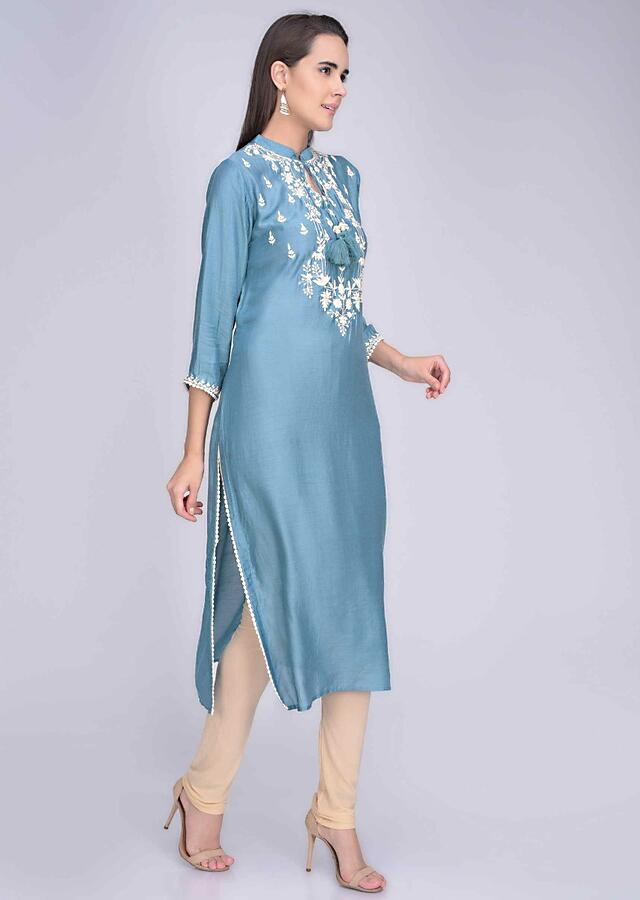 Stone Blue Kurti In Crepe With Embroidery Details Online - Kalki Fashion