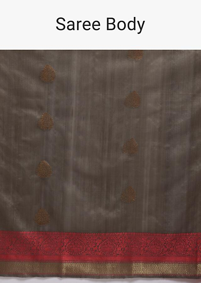 Stone Brown Pure Handloom Saree In Tussar Silk With Woven Red Border And Buttis Online - Kalki Fashion