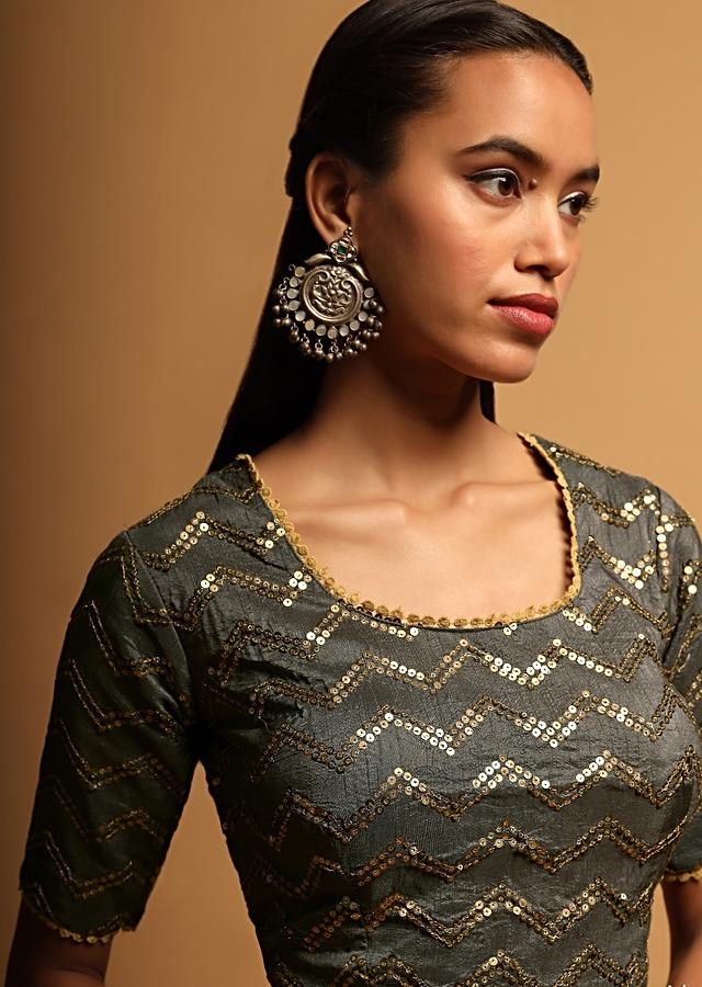 Stone Grey Blouse In Raw Silk With Sequins Embroidery In Chevron Design Online - Kalki Fashion