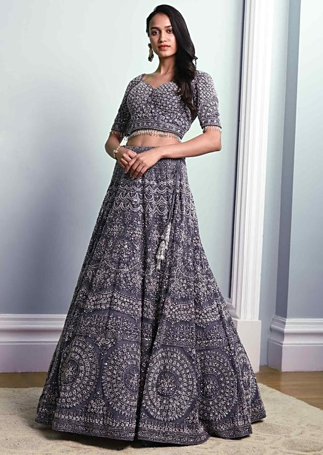 Stone Grey Lehenga Choli With Heavy Hand Embroidered Net In Floral Pattern Online - Kalki Fashion