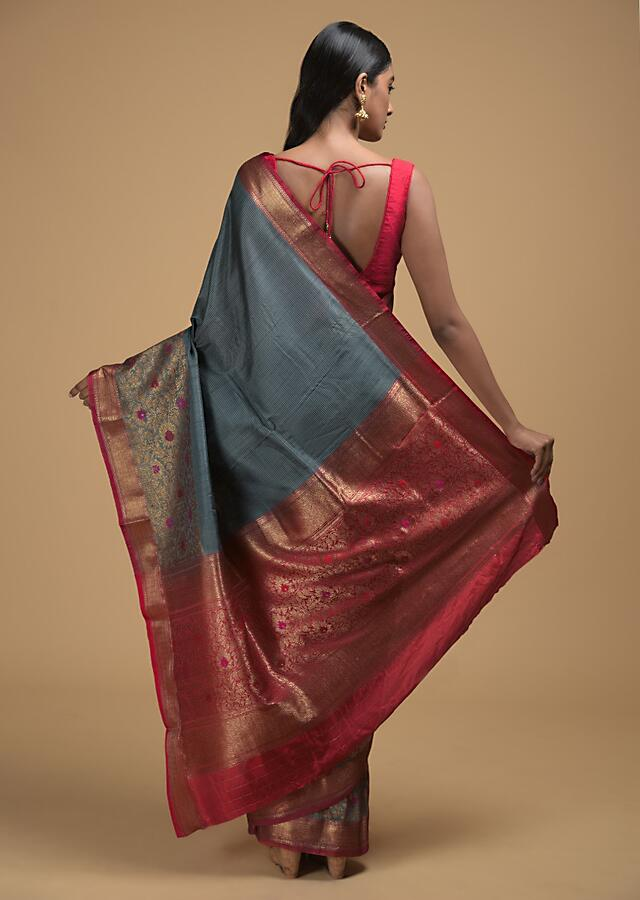 Stone Grey Pure Handloom Saree In Tussar Silk With Woven Stripes And Floral Border Online - Kalki Fashion