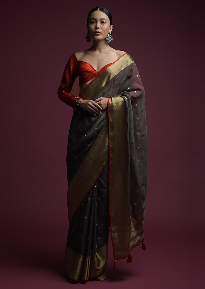 Stone Grey Saree In Organza Silk With Abla Embroidered Buttis And Unstitched Red Brocade Blouse Online - Kalki Fashion