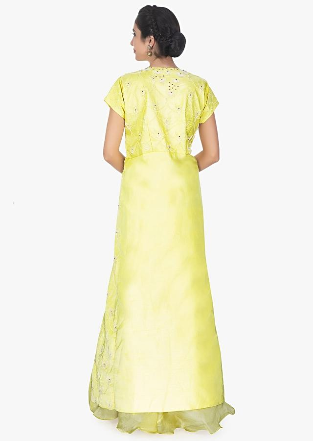 Lime Yellow Straight Cut Top In Side Slits Paired With Organzasilk Skirt Online - Kalki Fashion