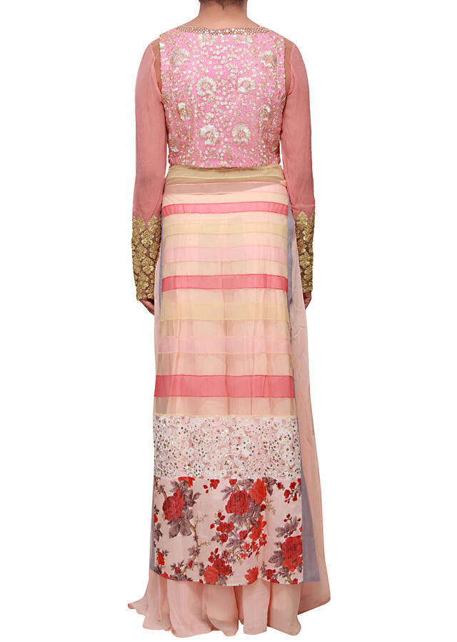 Straight fit suit in pink embellished in resham and zari embroidery only on Kalki