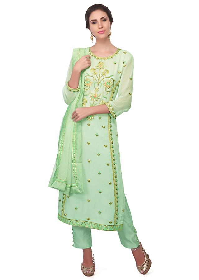 Sea Green Straight Suit In Georgette With Resham Embroidery Online - Kalki Fashion