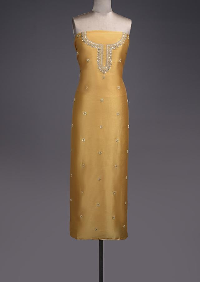 Straw Yellow Unstitched Suit With Pearls, Zari And Thread Embroidered Floral Buttis Online - Kalki Fashion
