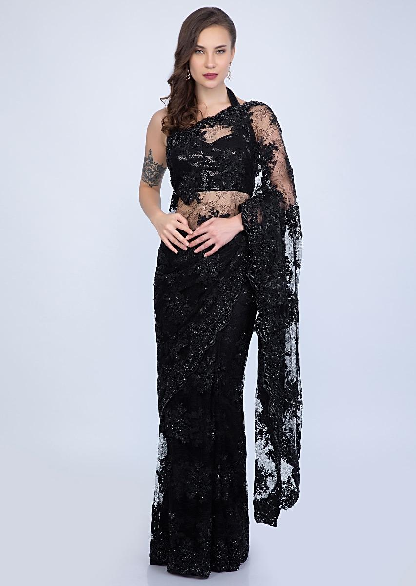 bed5dde6 Stunning Black chantilly lace saree embellished with sequins, cut dana and  pearls only on KalkiMore Detail