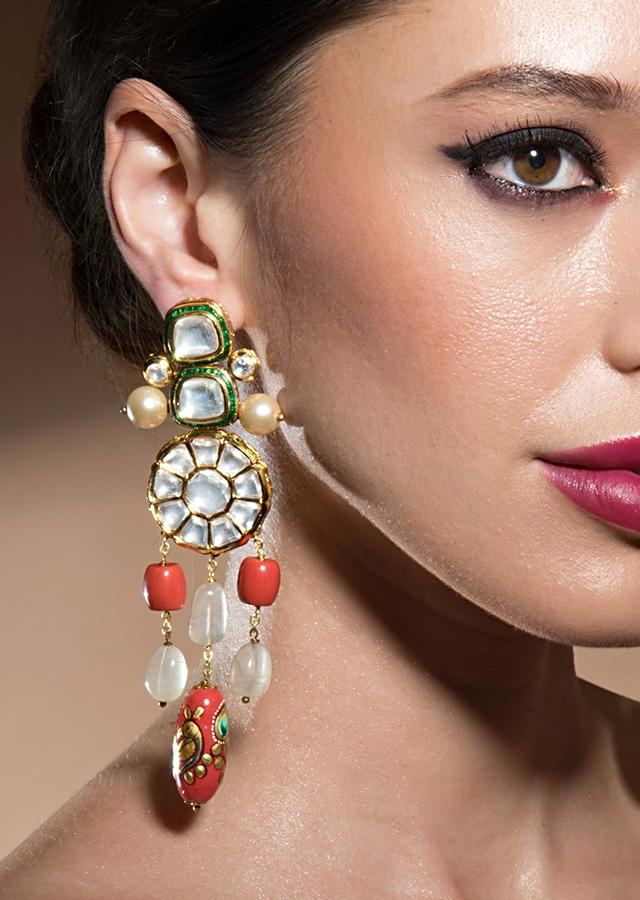 Stunning Kundan Polki Earrings With Shell Pearls, Red Coral And Jade Danglers Online - Joules By Radhika
