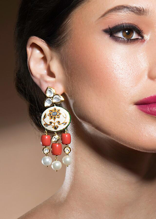 Stunning Pink Enamelled Earrings With Kundan Polki, Red Corals And White Baroque Pearls Online - Joules By Radhika