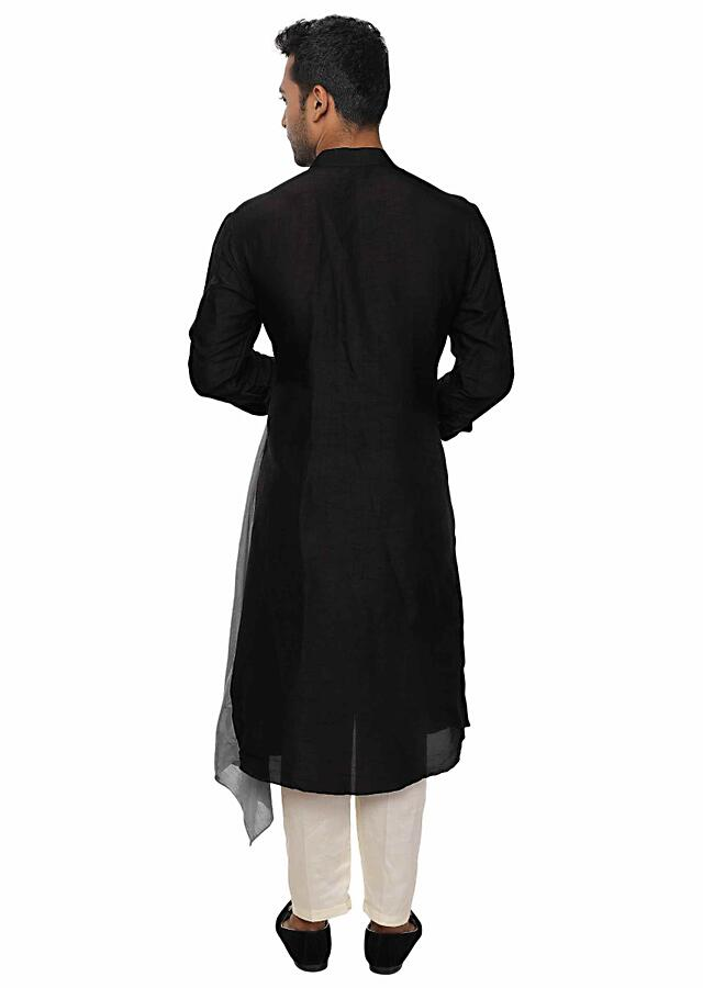 Black & Grey Evening Layered Kurta Set In Sufi Style Online - Kalki Fashion