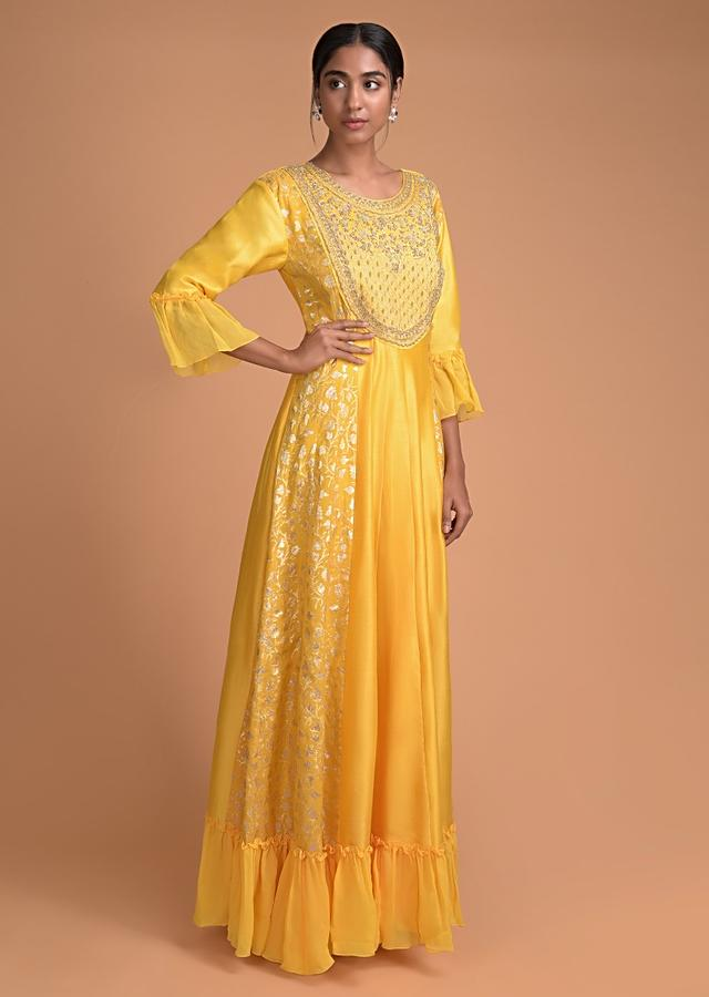 Sun Yellow Anarkali Dress With Embroidered Bodice And Weaved Panels Online - Kalki Fashion