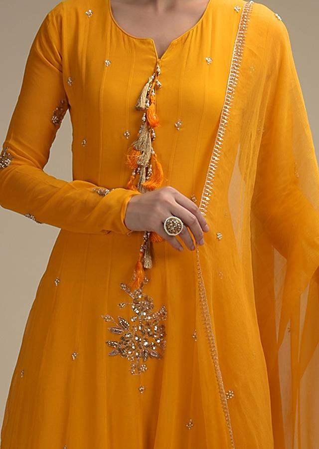 Sun Yellow Anarkali Suit In Georgette With Zari And Sequins Embroidered Floral Motifs And Tassels Online - Kalki Fashion
