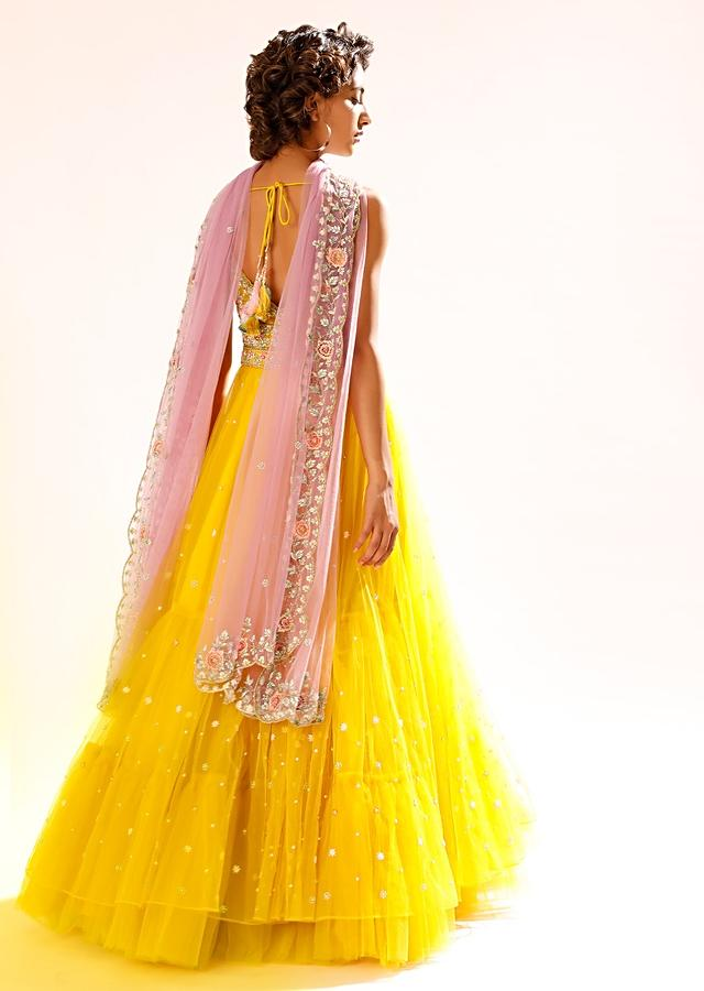 Sun Yellow Anarkali Suit In Net With Colorful Resham Embroidered Bodice And Plunging Neckline Online - Kalki Fashion