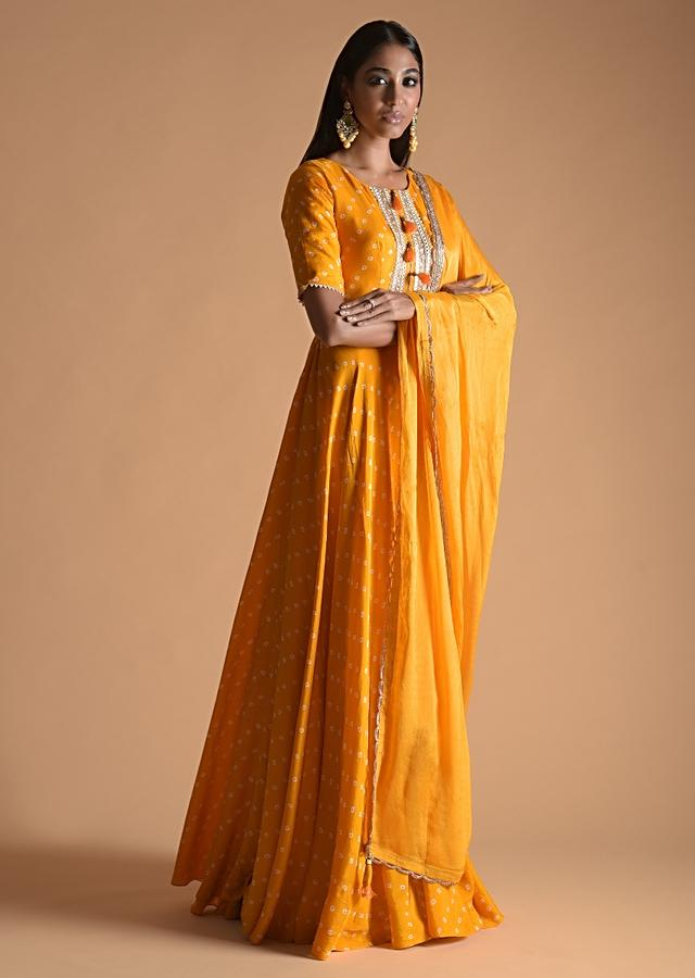 Sun Yellow Anarkali Suit In Silk Blend With Bandhani Print All Over Online - Kalki Fashion