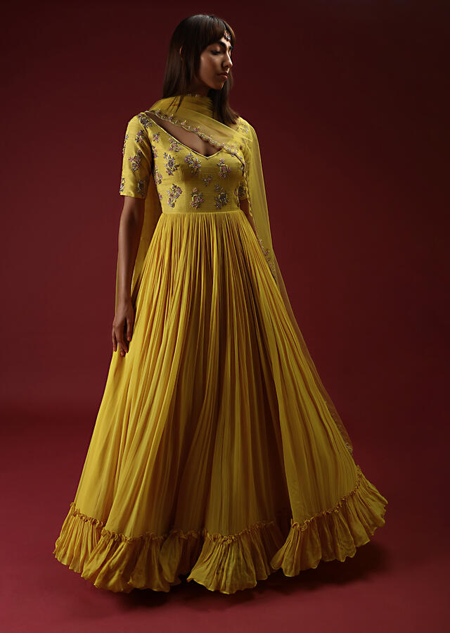 Sun Yellow Anarkali With A Deep V Neckline And Multi Colored Sequins And Beads Embroidered Buttis Online - Kalki Fashion